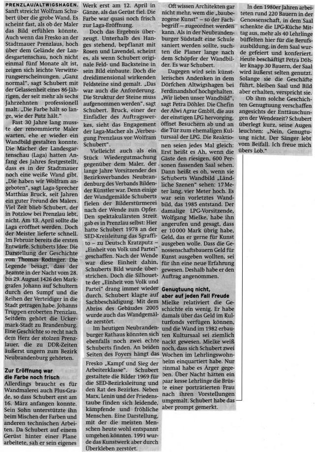 Prenzlauer Zeitung 27.08.2013, Schwarzweißfoto: Jabs
