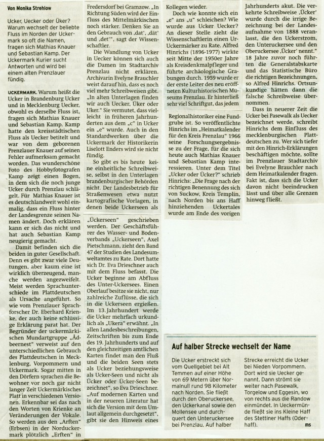 Uckermarkkurier 15./16.03.2014