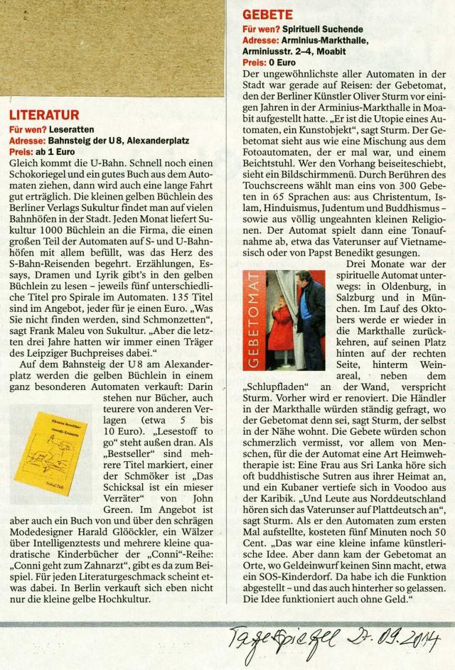 Tagesspiegel 27.09.2014