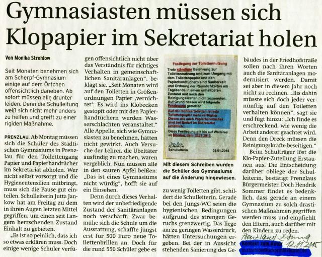 Prenzlauer Zeitung 12.01.2015