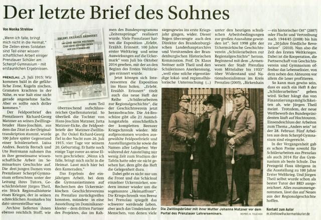 Prenzlauer Zeitung 25.02.2015