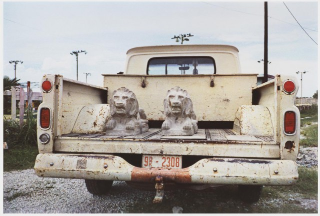 R442Eggleston, Untitled,  Stone lions in truck bed 001