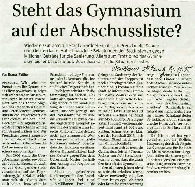 Prenzlauer Zeitung 14.11.2015
