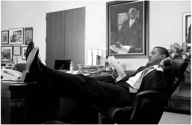 Sen. Barack Obama reads in his office on Capitol Hill, Nov. 18, 2005. ***HOLD FOR OBAMA PROJECT***