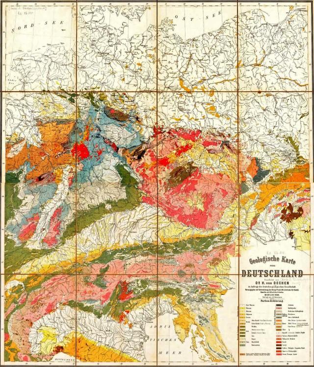 Geologische Karte Deutschland 1869_KT=erl