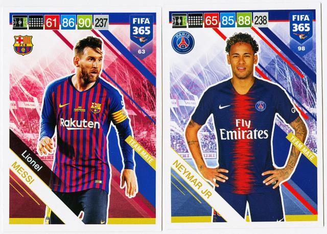 Sammelkarte-Messi-Neymar-Schlüsselspieler