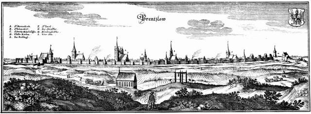 Stadtansicht Prenzlau Merian 1652